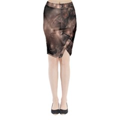 A Fractal Image In Shades Of Brown Midi Wrap Pencil Skirt