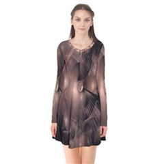 A Fractal Image In Shades Of Brown Flare Dress