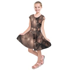 A Fractal Image In Shades Of Brown Kids  Short Sleeve Dress