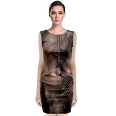 A Fractal Image In Shades Of Brown Sleeveless Velvet Midi Dress
