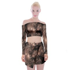 A Fractal Image In Shades Of Brown Off Shoulder Top With Skirt Set