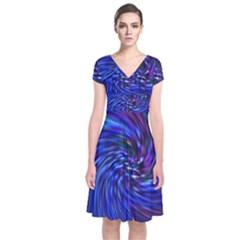 Stylish Twirl Short Sleeve Front Wrap Dress