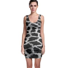 Black And White Giraffe Skin Pattern Sleeveless Bodycon Dress