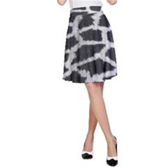 Black And White Giraffe Skin Pattern A Line Skirt