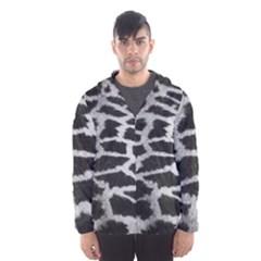 Black And White Giraffe Skin Pattern Hooded Wind Breaker (Men)