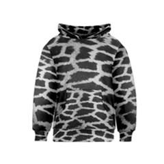 Black And White Giraffe Skin Pattern Kids  Pullover Hoodie