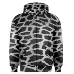 Black And White Giraffe Skin Pattern Men s Zipper Hoodie