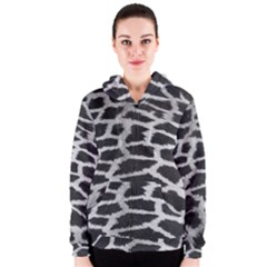 Black And White Giraffe Skin Pattern Women s Zipper Hoodie