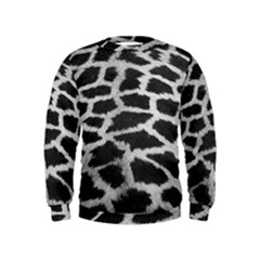 Black And White Giraffe Skin Pattern Kids  Sweatshirt
