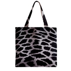 Black And White Giraffe Skin Pattern Zipper Grocery Tote Bag