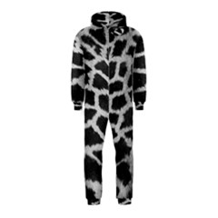 Black And White Giraffe Skin Pattern Hooded Jumpsuit (Kids)