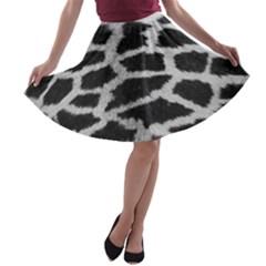 Black And White Giraffe Skin Pattern A-line Skater Skirt