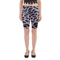 Black And White Giraffe Skin Pattern Yoga Cropped Leggings