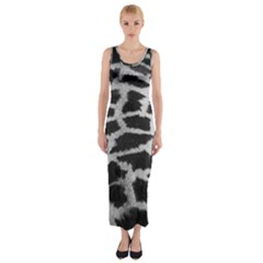 Black And White Giraffe Skin Pattern Fitted Maxi Dress