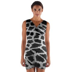 Black And White Giraffe Skin Pattern Wrap Front Bodycon Dress
