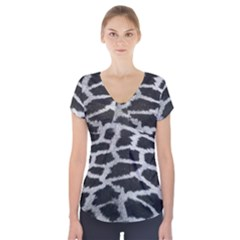 Black And White Giraffe Skin Pattern Short Sleeve Front Detail Top