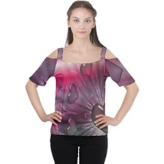 Love Hearth Background Wallpaper Women s Cutout Shoulder Tee