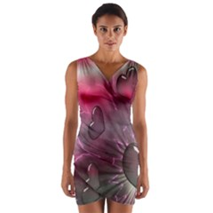 Love Hearth Background Wallpaper Wrap Front Bodycon Dress