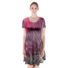 Love Hearth Background Wallpaper Short Sleeve V Neck Flare Dress
