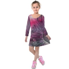 Love Hearth Background Wallpaper Kids  Long Sleeve Velvet Dress