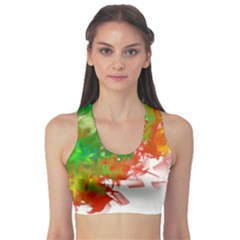 Digitally Painted Messy Paint Background Textur Sports Bra