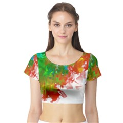 Digitally Painted Messy Paint Background Textur Short Sleeve Crop Top (Tight Fit)