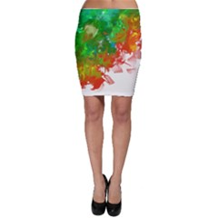 Digitally Painted Messy Paint Background Textur Bodycon Skirt