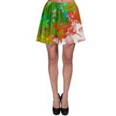 Digitally Painted Messy Paint Background Textur Skater Skirt