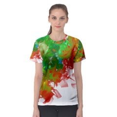 Digitally Painted Messy Paint Background Textur Women s Sport Mesh Tee