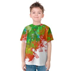 Digitally Painted Messy Paint Background Textur Kids  Cotton Tee