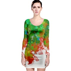 Digitally Painted Messy Paint Background Textur Long Sleeve Bodycon Dress