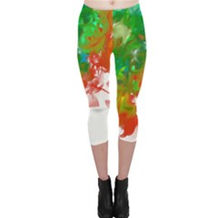 Digitally Painted Messy Paint Background Textur Capri Leggings