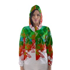 Digitally Painted Messy Paint Background Textur Hooded Wind Breaker (Women)