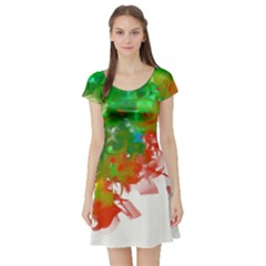 Digitally Painted Messy Paint Background Textur Short Sleeve Skater Dress