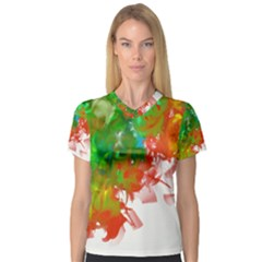 Digitally Painted Messy Paint Background Textur Women s V-Neck Sport Mesh Tee