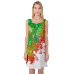 Digitally Painted Messy Paint Background Textur Sleeveless Satin Nightdress