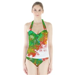 Digitally Painted Messy Paint Background Textur Halter Swimsuit