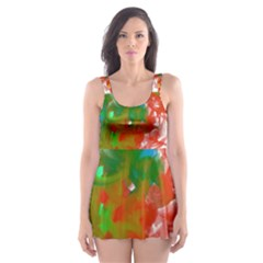 Digitally Painted Messy Paint Background Textur Skater Dress Swimsuit