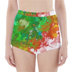 Digitally Painted Messy Paint Background Textur High Waisted Bikini Bottoms