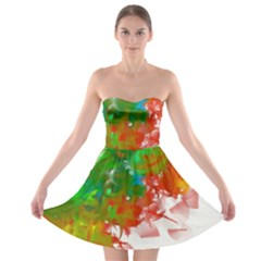 Digitally Painted Messy Paint Background Textur Strapless Bra Top Dress