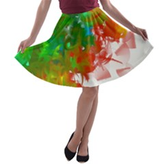 Digitally Painted Messy Paint Background Textur A-line Skater Skirt
