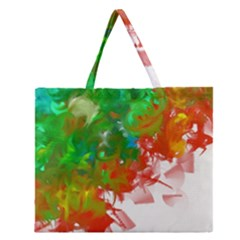 Digitally Painted Messy Paint Background Textur Zipper Large Tote Bag