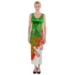Digitally Painted Messy Paint Background Textur Fitted Maxi Dress