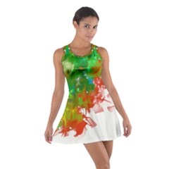 Digitally Painted Messy Paint Background Textur Cotton Racerback Dress