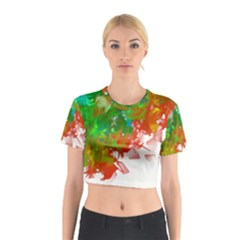 Digitally Painted Messy Paint Background Textur Cotton Crop Top