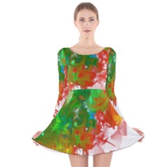 Digitally Painted Messy Paint Background Textur Long Sleeve Velvet Skater Dress