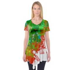 Digitally Painted Messy Paint Background Textur Short Sleeve Tunic