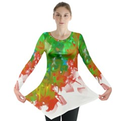 Digitally Painted Messy Paint Background Textur Long Sleeve Tunic