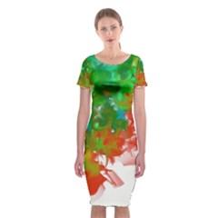 Digitally Painted Messy Paint Background Textur Classic Short Sleeve Midi Dress