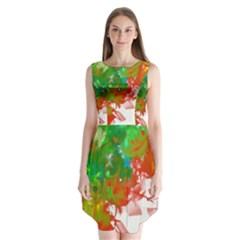 Digitally Painted Messy Paint Background Textur Sleeveless Chiffon Dress